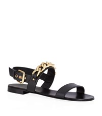 Giuseppe Zanotti Chain Double Strap Leather Sandal Male