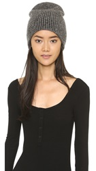 White Warren Cashmere Plush Rib Beanie Black Pearl