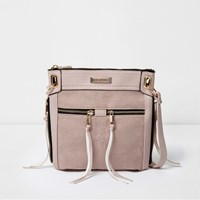 River Island Womens Light Pink Zip Front Mini Messenger Bag