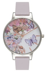 Olivia Burton Women's Painterly Prints Leather Strap Watch 38Mm