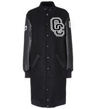 Opening Ceremony Varsity Long Leather And Wool Blend Coat Black