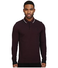 Fred Perry Long Sleeve Twin Tipped Shirt Mahogany Black Oxford White Black Men's Clothing Brown