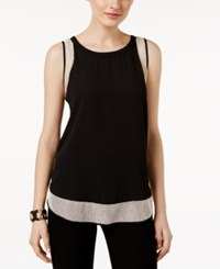 Cable And Gauge Mesh Trim Tank Top Black Latte