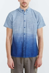 Native Youth Linear Grain Button Down Shirt Blue