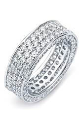 Sterling Silver Cz Triple Row Inside Out Eternity Band Ring Metallic