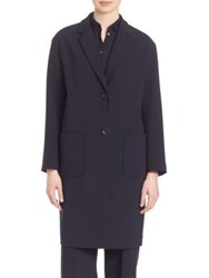 Piazza Sempione Techno Wool Blend Gardine Coat Blue