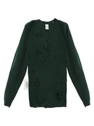Vetements Distressed V Neck Sweater Green