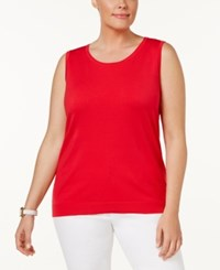 August Silk Plus Size Sleeveless Shell Ladybug Red