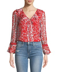 Tanya Taylor Staci Floral Vines Bell Sleeve Top Red