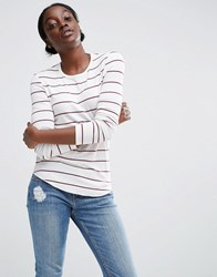 Asos Crew Neck T Shirt In Stripe With Long Sleeve Cream Oxblood Multi