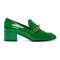 Burberry Green Patent Chillcot Heeled Loafers