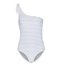 Bower Swimwear White Horse Striped One Shoulder Swimsuit