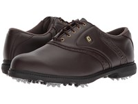 Footjoy Originals Cleated Traditional Plain Toe Saddle All Over Dark Brown Golf Shoes