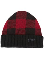 Woolrich Knitted Logo Embroidered Beanie Black