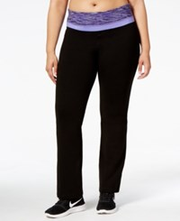 Ideology Plus Size Space Dyed Waistband Yoga Pants Created For Macy's Classic Black