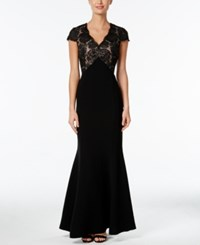 Calvin Klein Sequined Lace Mermaid Gown Black
