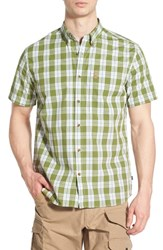 Fjall Raven Men's Fj Llr Ven ' Vik' Plaid Short Sleeve Plaid Sport Shirt Meadow Green