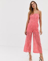 French Connection Helenie Lace Jumpsuit Pink