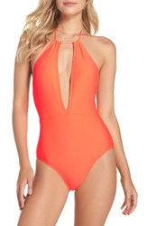 Ted Baker Women's London Halter One Piece Swimsuit Coral