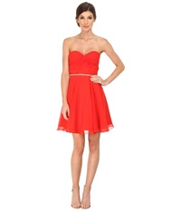 Faviana Chiffon With Empire Bust Twist Rhinestone 7654 Red Women's Dress