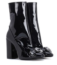 N 21 Tino 100 Patent Leather Ankle Boots Black