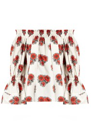 Alexander Mcqueen Poppy Print Off The Shoulder Top White Multi