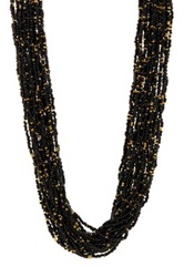 Sparkling Sage Multi Strand Seed Bead Necklace No Color