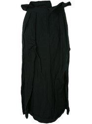 Aganovich Long Pleated Skirt Cotton Polyamide Wool Metal Black