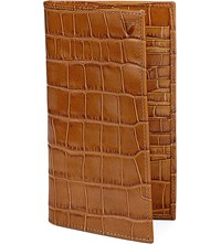 Aspinal Of London Classic Crocodile Embossed Leather Breast Wallet Tan