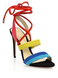 Alexandre Birman Aurora Colorblock Suede Lace Up Sandals Multi