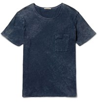 Nudie Jeans Ove Marbled Indigo Dyed Organic Cotton Jersey T Shirt Navy