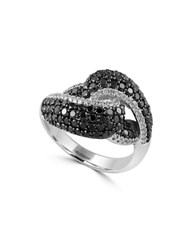 Effy Caviar Black Diamond And 14K White Gold Ring 1.5 Tcw