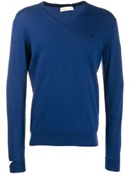 Etro V Neck Sleeve Detail Knit Jumper Blue