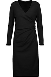 Raoul Dilara Draped Velvet Trimmed Cotton Blend Jersey Dress Black
