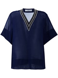 Lanvin Beaded V Neck Sheer Top Blue