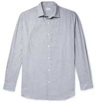 Charvet Cotton And Wool Blend Flannel Shirt Gray