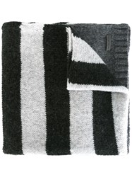 Woolrich Striped Scarf Grey
