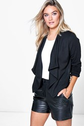 Boohoo Ponte Waterfall Blazer Black
