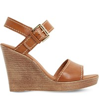 Dune Kamella Leather Wedge Sandals Tan Leather