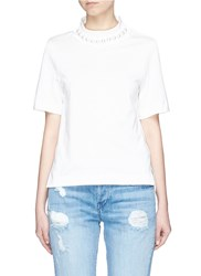 Muveil Faux Pearl Necklace T Shirt White