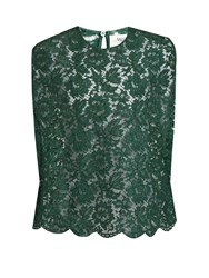Valentino Floral Lace Top Green