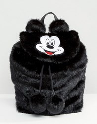 Lazy Oaf Disney X Mickey Mouse Faux Fur Backpack Black
