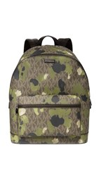 Michael Kors Jet Set Painterly Camo Backpack Evergreen