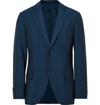 Massimo Piombo Mp Blue Slim Fit Wool And Mohair Blend Suit Jacket Petrol