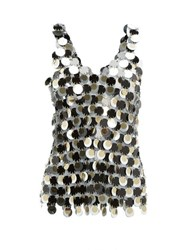Paco Rabanne Round Pailette Chainmail Top Black Multi