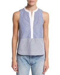 Elizabeth And James Jacey Sleeveless Striped Poplin Top Multicolor