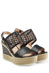 Steffen Schraut Leather Wedges With Cut Out Detail Black