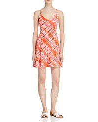 Aqua Printed Slip Dress Coral White