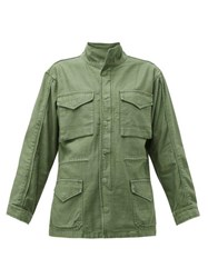 Frame Drawstring Waist Cotton Military Jacket Khaki