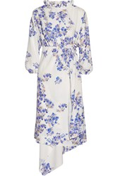 Vetements Asymmetric Floral Print Stretch Crepe Wrap Dress White